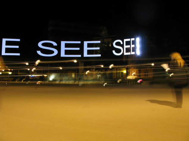 Ruth Schnell: Floating Signs 'SEE' (2011) (Light Installation)